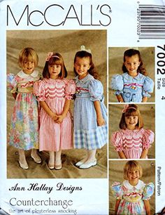 McCall's 7002 Girl's Dress Including Instructions for Counter-Change (Pleaterless Smocking) Size 4 McCall's Mccalls Patterns, Vintage Sewing Patterns, Knitting Patterns, Little Dresses, Flower Girl Dresses, Vintage Girls Dresses, Retro, Vintage Children, Special Occasion Dresses