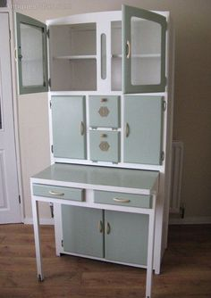 1950s kitchen larder cabinet w/ integrated bread bin + pull out pastry table