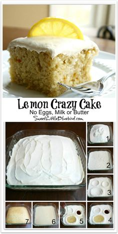 Lemon Crazy/Wacky Cake (also know as Depression Cake) No Eggs. Lemon Crazy/Wacky Cake (also know as Depression Cake) No Eggs Milk Butter or Bowls! Mini Desserts, Just Desserts, Delicious Desserts, Dessert Recipes, Picnic Recipes, Baking Desserts, Frosting Recipes, Crazy Cake Recipes, Crazy Cakes
