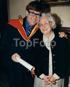 16th April 1997:Elton with his old piano teacher, Helen Piena at the Royal Academy of Music
