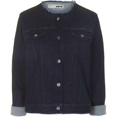 MOTO Frayed Denim Jacket by Topshop Reclaim (40 CAD) ❤ liked on Polyvore featuring outerwear, jackets, indigo denim, vintage denim jacket, vintage jacket, cut-off, jean jacket and vintage jean jacket