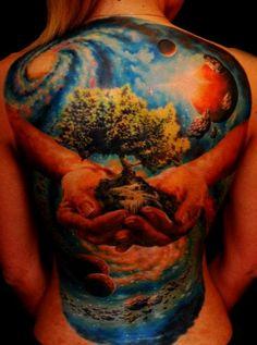 Life Tattoo - Nature Tattoo - Universe Tattoo - Galaxy Tattoo -Best Tattoos Ever - 11 by the Best Tattoo Artists in the world Best 3d Tattoos, Best Tattoo Ever, Great Tattoos, Beautiful Tattoos, Body Art Tattoos, Tatoos, Awesome Tattoos, Crazy Tattoos, Ink Tattoos