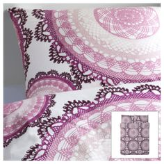 Pretty for a guest room... LYCKOAX Duvet cover and pillowcase(s) - white/lilac, Twin - IKEA