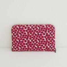 リバティプリントの長財布のキット Xanthe Sunbeam 赤のセット