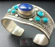 Tibet Silver inlay Lapis Lazuli Turquoise Cuff Bracelet Wonderful for sale online Nepal Bracelets, Bangle Bracelets, Bangles, Turquoise Cuff, Turquoise Bracelet, Tribal Jewelry, Tibet, Lapis Lazuli, Beaded Necklace