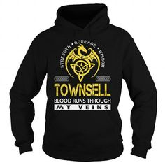 Cool TOWNSELL Blood Runs Through My Veins (Dragon) - Last Name, Surname T-Shirt T shirts
