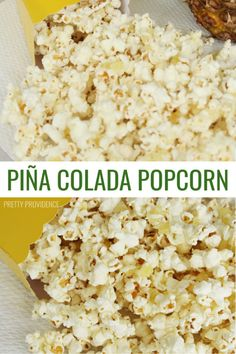 If you're a piña colada fan you're going to love this treat! The pineapple and coconut flavors go so well with white chocolate popcorn. Flavored Popcorn, Popcorn Recipes, Snack Recipes, Cooking Recipes, Homemade Popcorn, Dessert Recipes, Gourmet Popcorn, Party Recipes, Dessert Ideas