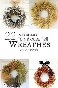 22 of the best farmhouse fall wreathes on Amazon!