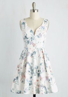 Beyond Your Wildflower Dreams Dress in Blooms - Multi, White, Floral, Print, Daytime Party, Fit & Flare, Sleeveless, Spring, Woven, Better, Mid-length, Sundress