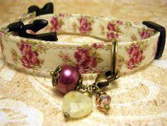 Safety Cat Collar -  Cat Collar - Cat Charm - Pet Charm - Gemstone Charm - Heart Charm - Antique Brass