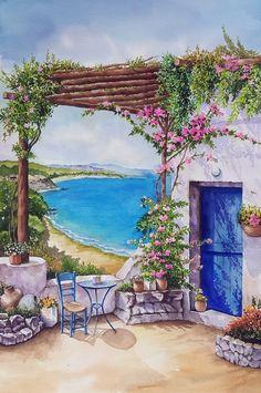 Landscape Art, Landscape Paintings, Watercolor Illustration, Watercolor Paintings, Watercolor Architecture, Aesthetic Painting, Diy Canvas Art, Beautiful Paintings, Art Drawings