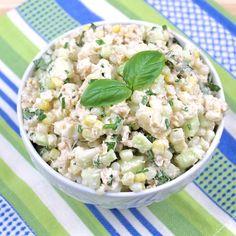 Salmon Corn and Cucumber Salad. Salmon Corn and Cucumber Salad Picnic Salad Recipes, Corn Salad Recipes, Cucumber Recipes, Corn Salads, Healthy Salad Recipes, Salmon Recipes, Seafood Recipes, Corn And Cucumber Salad Recipe, Best Wild Salmon Recipe