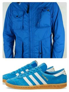 UK luxury outwear brand MA.STRUM's classic Sniper cagoule has been a top seller since its introduction. Here we take the Vibrant blue version and team it up with the equally vibrant adidas Hamburg in Bluebird suede with white trim - top clothing,  top trainers!