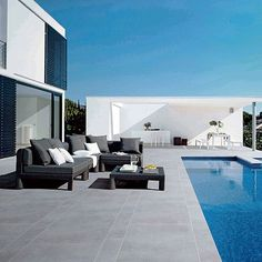 Panaria Bioarch Barge-Grigia Outdoor tile , also for floor design , swiming pool area. Pool Paving, Swimming Pool Tiles, Swiming Pool, Swimming Pools Backyard, Patio Tiles, Outdoor Tiles, Outdoor Flooring, Outdoor Pool, Concrete Look Tile