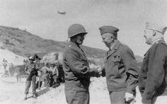 US generals Omar Bradley, George Marshall, and Henry Arnold at Saint-Laurent-sur-Mer, Omaha Beach, 12 june 1944.
