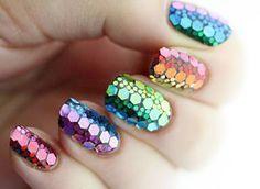 Nail polish: nail art, colorful, crocodile, nail accessories, mermaid, rainbow - Wheretoget
