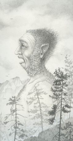 "Pencil Drawing by Melissa Mary Duncan called , ""The Giant Who wakes Up Singing"""