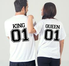 King and Queen white T-Shirts set with numbers and text on the back. His and her set, Newly weds, Husband and wife. by SoulGoldTees on Etsy Baby Grows, King Queen, Custom Items, Newlyweds, Numbers, Bodysuit, Husband, T Shirts For Women, Unisex