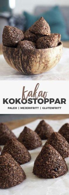 Recept: Sockerfria kokostoppar med kakao. Paleo / Mjölkfritt / Glutenfritt / LCHF Vegan Desserts, Paleo Dessert, Raw Food Recipes, Dessert Recipes, Healthy Sweets, Healthy Snacks, Tasty, Yummy Food, Swedish Recipes