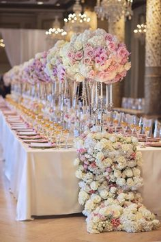 Weddbook ♥ Long Wedding Table decoration that will look stunning by adding a touch of fresh flowers. Gorgeous flowers to make table aromatic. Wine glasses and plates with personalized cards will look classy for wedding