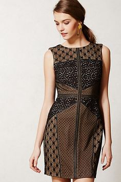 Note to self: wear this with hair up or back, statement earrings, smoke eyes, red lips, sheer stockings, strappy heels. Anthropologie Lace Topography Sheath Dress Size SP, By Heartloom