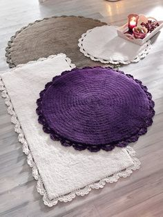 These look like cheap carpets with lace edging attached. Cost effective and cute!