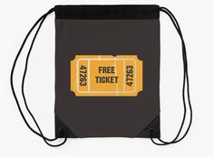 """Free Ticket"" Drawstring Bags by bubbliciousart 