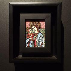 """Gabriele Münter, """"A Madona com o bebé"""", 1909, óleo sobre vidro, Museu Estatal Russo. Exposição Banco do Brasil. Belo Horizonte, Minas Gerais"""