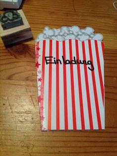 Kino Einladung Mit Selbstgemachtem Popcorn Stempel