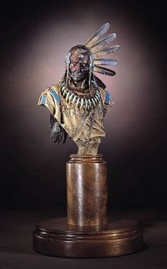 Enemies Past bust Bronze with Patina and Paint. Dave McGary