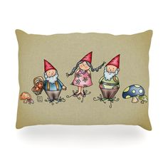 "Carina Povarchik ""Gnomes"" Brown Multicolor Outdoor Throw Pillow"