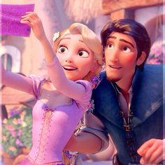 Can someone make Rapunzel have black hair and a dark blue dress, and Eugene (Flynn) have blond hair and a green shirt? Thanks!