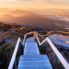 Step on down these stairs at the top of Mount Wellington to experience some incredible views! Brisbane, Melbourne, Perth, Places Around The World, Oh The Places You'll Go, Travel Around The World, Places To Visit, Around The Worlds, Tasmania Road Trip