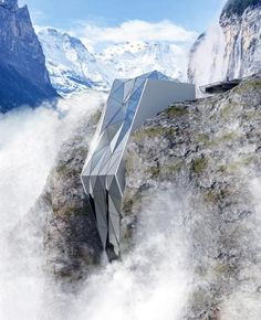 A rendering of Hotel in Alps, which features a jagged glass exterior imitating the sharp angles of the surrounding mountains CREDIT: ANDRII ROZHKO