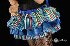 Clown ruffle mini skirt carnival blue stripes by SistersOfTheMoon
