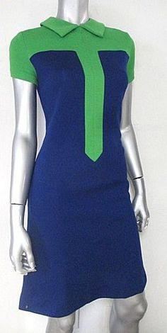 1960s Shamrock and Navy Knit Mod Shift Dress