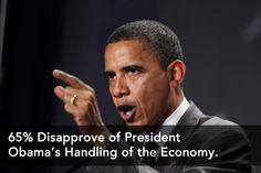 TWO THIRDS OF AMERICANS DISAPPROVE OF OBAMA'S HANDLING OF THE ECONOMY..    Thats right, 65% of Americans think his Stimulus spending, deficit creating, debt increasing, Solyndra failing, energy halting, SOCIALISM if not right for America...which leads us to one question...    Who on earth are the 35% who actually approve of what this guy is doing?