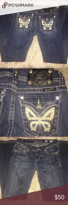 Miss Me Butterfly Boot Cut Jeans Size 25 Miss Me Butterfly Pockets Boot Cut Jeans Size 25 in Waist x 30 in Inseam. Gently used, great condition. Medium Wash. Adorable detail studded back flap pockets. Rare design! Miss Me Jeans Boot Cut