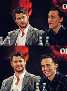 Thor and Loki: Chris Hemsworth and Tom Hiddleston Marvel Actors, Marvel Heroes, Marvel Dc, The Avengers, Thomas William Hiddleston, Tom Hiddleston Loki, Thor X Loki, Z Cam, Loki Laufeyson