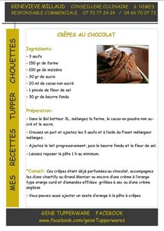 Tupperware - Crêpes au chocolat Tupperware Pressure Cooker, Tupperware Recipes, Coco, Brunch, Snacks, Drinks, Cooking, Illustrated Recipe, Pastries