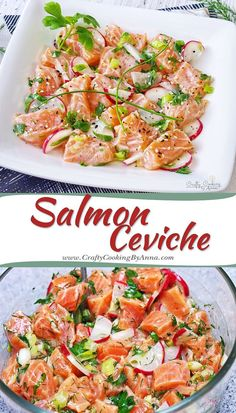 Salmon Ceviche Salmon Ceviche Super Fresh Delicious And Low Calorie Appetizer A Wonderful Combination Of Flavors So Easy To Prepare And Yet Gives You A Marvelous Meal Raw Food Recipes, Fish Recipes, Seafood Recipes, Mexican Food Recipes, Appetizer Recipes, Salad Recipes, Dinner Recipes, Cooking Recipes, Cooking Tips