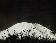 "gacougnol: ""Okada Koyo Cone of Mount Fuji among the Reeds "" Star Children, Gelatin Silver Print, Mount Fuji, Vintage Prints, Tokyo, Tapestry, Black And White, Photography, Aesthetic Dark"