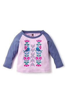Free shipping and returns on Tea Collection 'Pajarito' Graphic Raglan Sleeve Tee (Baby Girls) at Nordstrom.com. Your little songbird will coo over this soft cotton tee that features a whimsical graphic and sporty, contrast raglan sleeves.