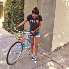 """This mornings bike ride in my #Célfie tee ❤️ / avail: www.shopsincerelyjules.com"""