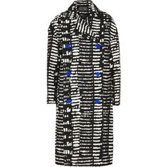 Proenza Schouler Double-breasted printed cotton-blend coat ($1,270) ❤ liked on Polyvore featuring outerwear, coats, black, double breasted coat, oversized coat, proenza schouler and proenza schouler coat