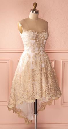 Sweetheart Homecoming Dresses, Hi-low Homecoming Dresses, Gold Lace
