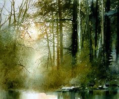 Forest Pool by watercolor artist Nita Engle available from Snow Goose Gallery Watercolor Trees, Watercolor Artists, Watercolor Techniques, Watercolor Landscape, Landscape Art, Landscape Paintings, Watercolor Paintings, Watercolors, Watercolor Portraits