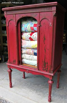 Tricycle Red Miss Mustard Seeds Milk Paint furniture makeover Petticoat Junktion chippy finish with dark wax