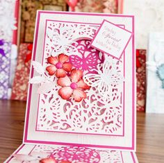 Pink floral #greetingcard from the Die'sire A6 Create and #Card Dies Mega Bundle. Available here - http://www.createandcraft.tv/Die%40esire_A6_Create_a_Card_Dies_Mega_Bundle-337928.aspx?fh_location=//CreateAndCraft/en_GB/$s=337928 #papercraft