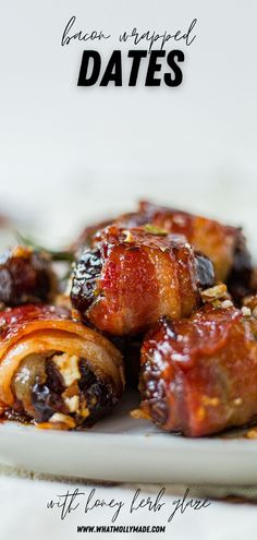 Making these classic bacon wrapped dates recipe is your next best decision! They're much like the traditional appetizer, but there's a crunch inside and a sweet honey glaze on top. Healthy Appetizers, Appetizer Recipes, Bacon Wrapped Dates, Bite Size Food, Date Recipes, Honey Glaze, Home Chef, Healthy Baking, The Best